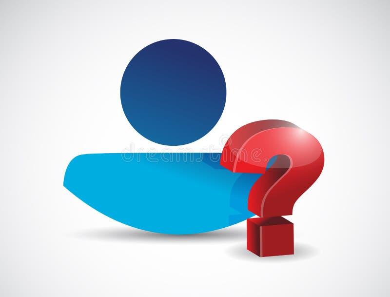 Povos e ponto de interrogação. projeto da ilustração ilustração do vetor