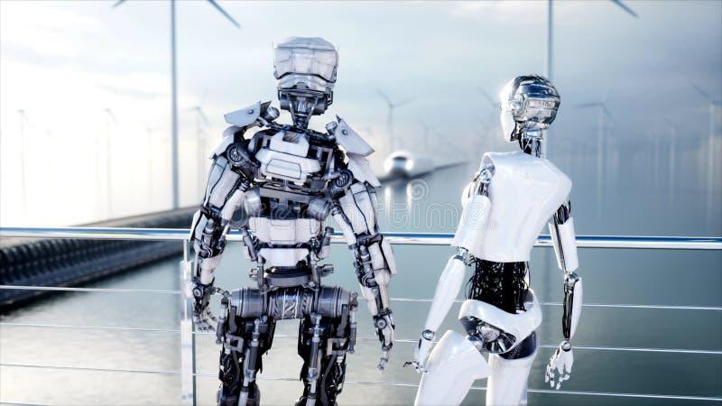 Povos e robôs Estação de Sci fi Transporte futurista do monotrilho Conceito do futuro rendição 3d ilustração royalty free
