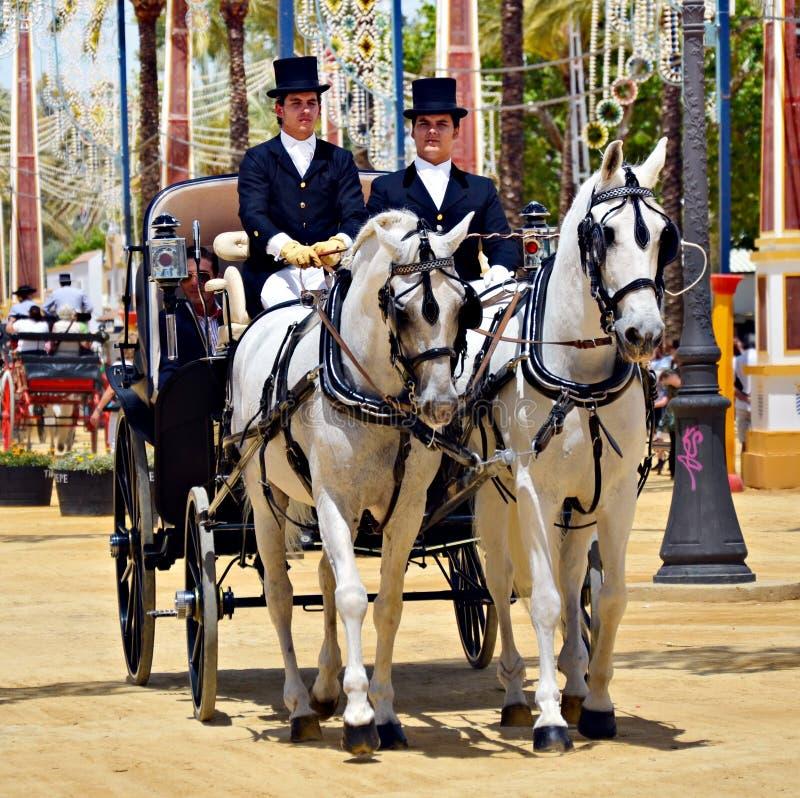 Povos em cavalos de carro fotografia de stock royalty free