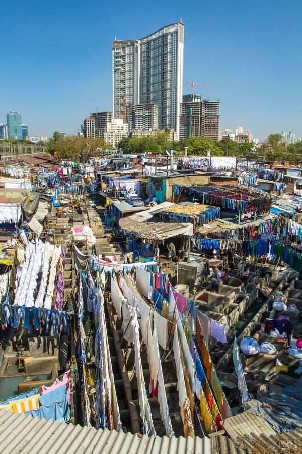 Povos em Dhobi Ghat imagem de stock royalty free