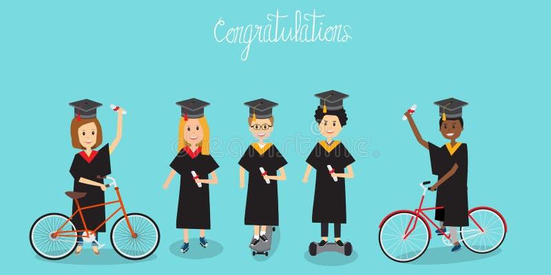 Povos em felicitações da geração Z para o uniforme garduated IL ilustração stock