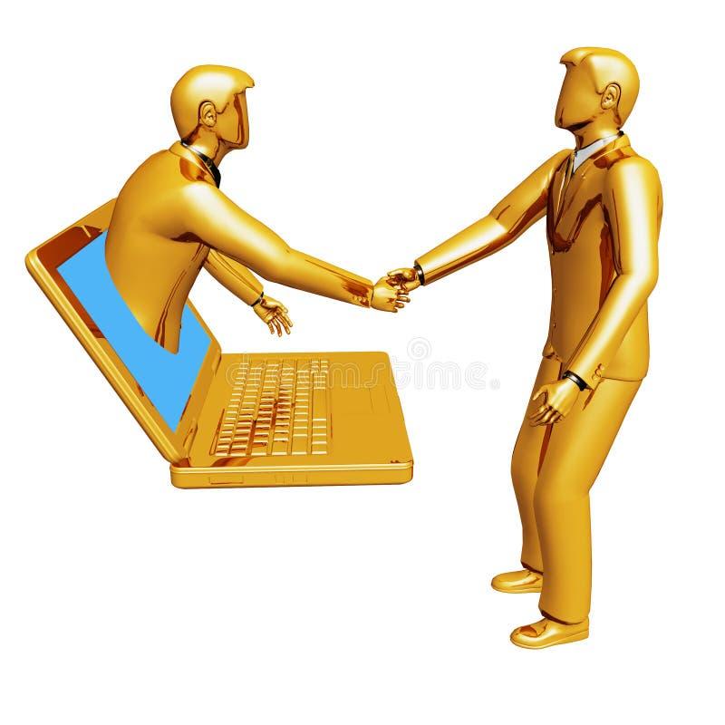 Povos em linha da conexão do portátil ilustração royalty free