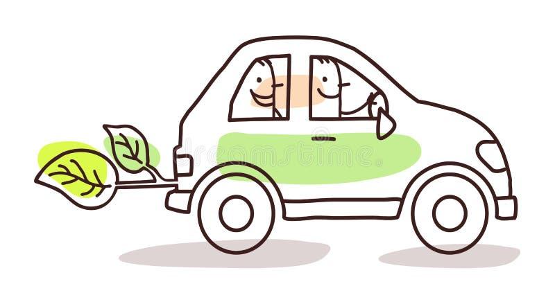 Povos em um carro verde ilustração do vetor