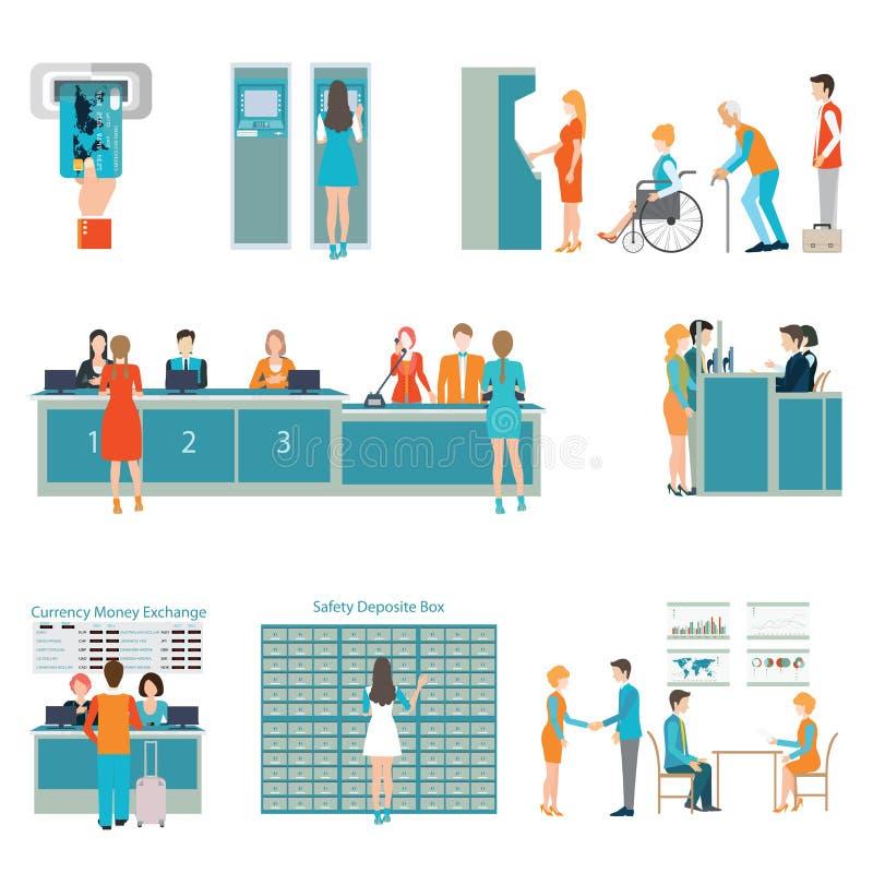 Povos em um interior do banco ilustração royalty free