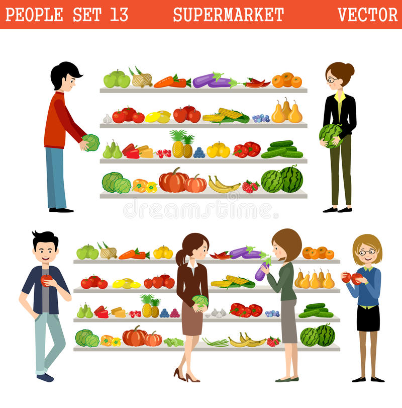 Povos em um supermercado com compras ilustração royalty free