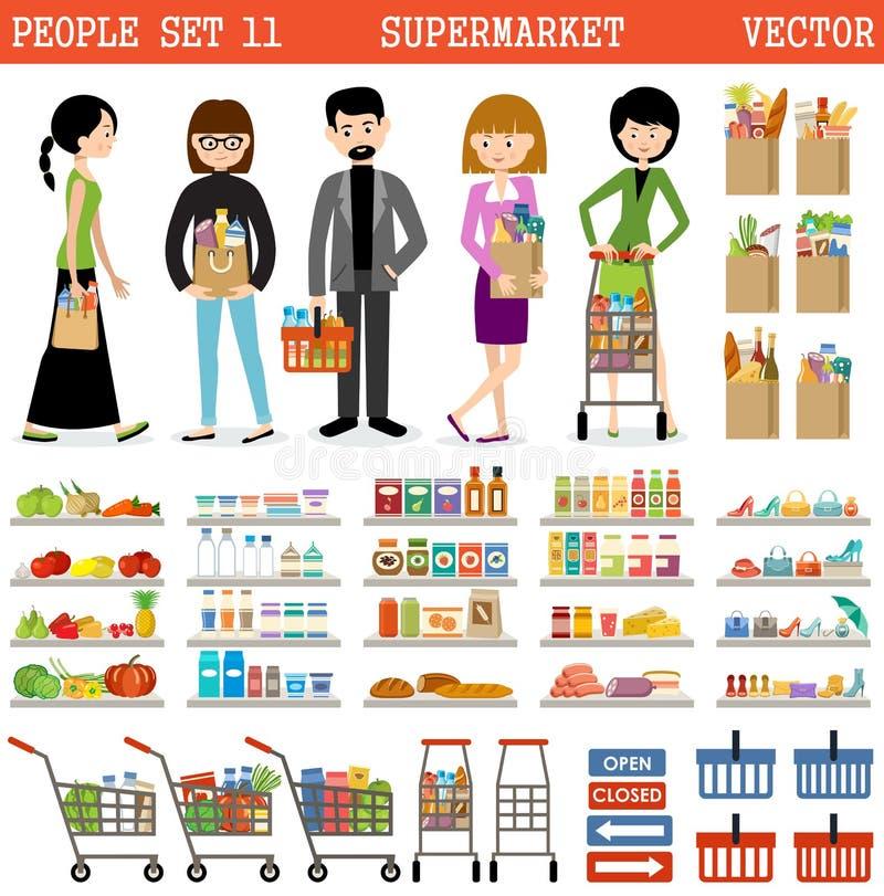 Povos em um supermercado com compras ilustração do vetor