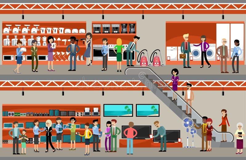 Povos em um supermercado do equipamento e da eletrônica ilustração stock