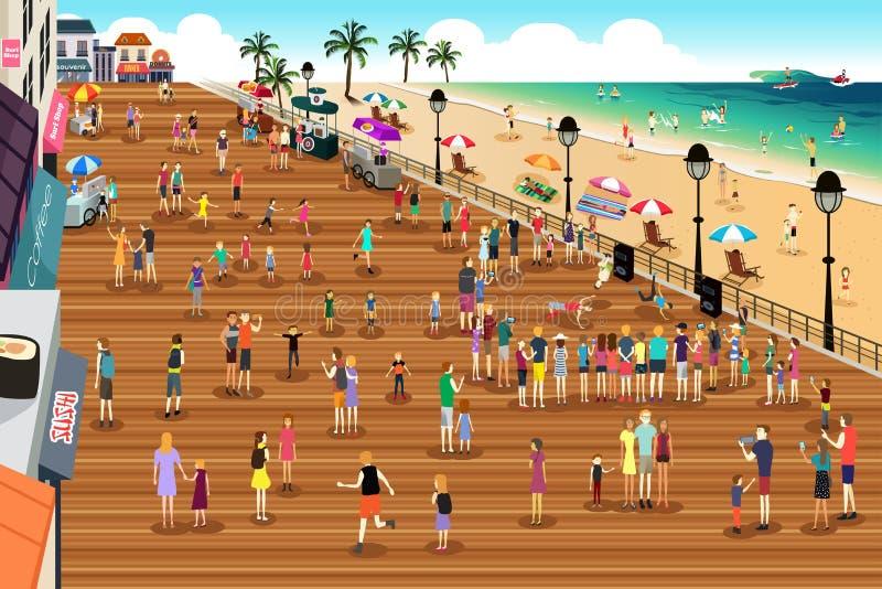 Povos em uma cena do passeio à beira mar ilustração do vetor