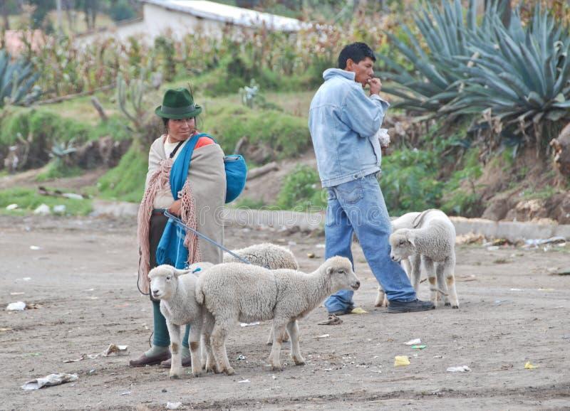 Povos equatorianos nativos em um mercado imagens de stock royalty free