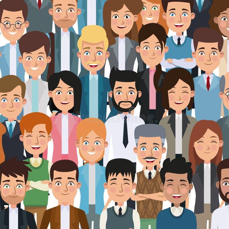 Povos executivos corpo colorido do close up do cartaz do meio para o negócio de caráteres ilustração stock
