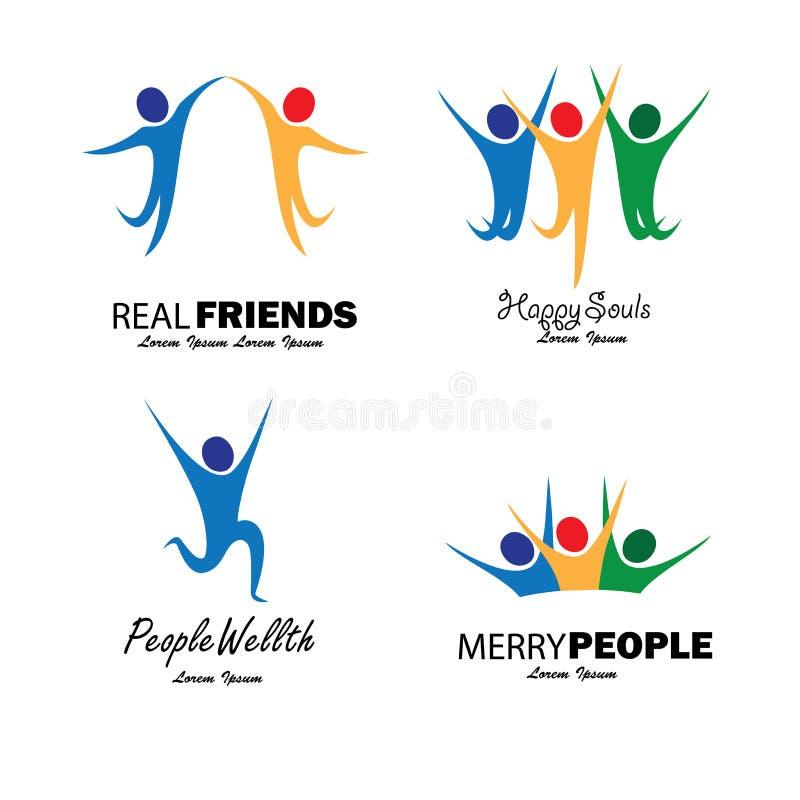 Povos felizes coloridos que saltam no grupo do vetor da alegria ilustração royalty free