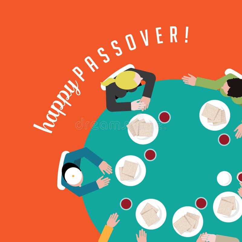 Povos felizes da páscoa judaica que comem o matzoh e o vinho tradicionais ilustração do vetor