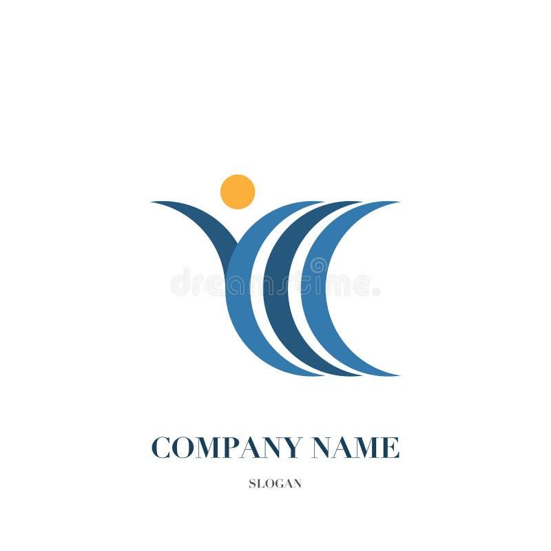 Povos felizes do divertimento, logotipo saudável da vida, projeto do ícone foto de stock royalty free