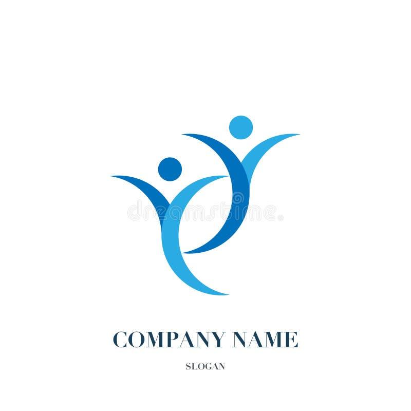 Povos felizes do divertimento, logotipo saudável da vida, projeto do ícone imagem de stock royalty free