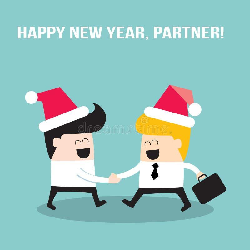 Povos felizes dos homens de negócios que agitam as mãos e que vestem chapéus de Santa Claus Feliz Natal e ano novo feliz, sócio ilustração royalty free