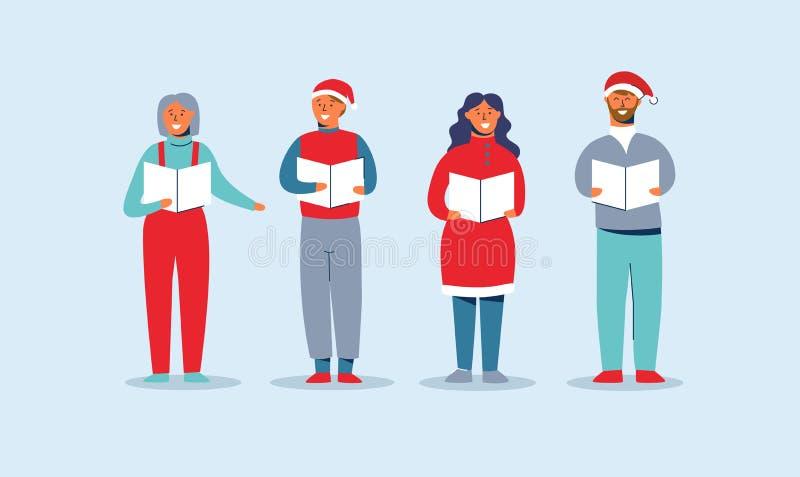Povos felizes em Santa Hats Singing Christmas Carols Caráteres dos feriados de inverno O coro de Caroling dos cantores do Xmas eq ilustração royalty free