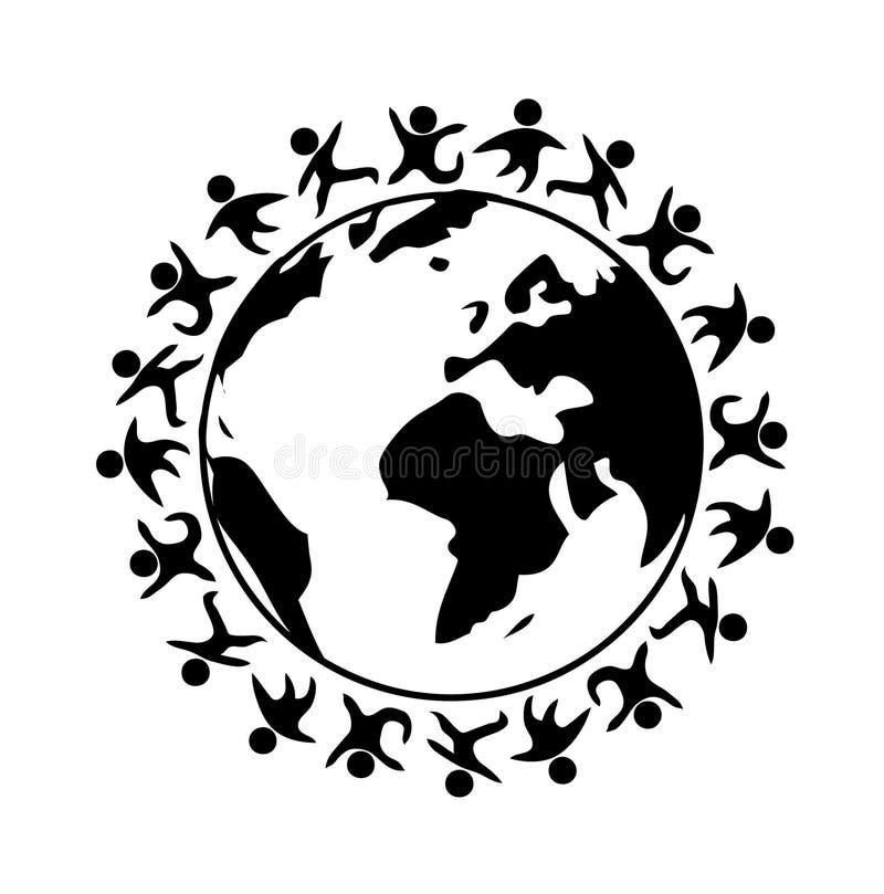 Povos felizes em torno do mundo ilustração do vetor