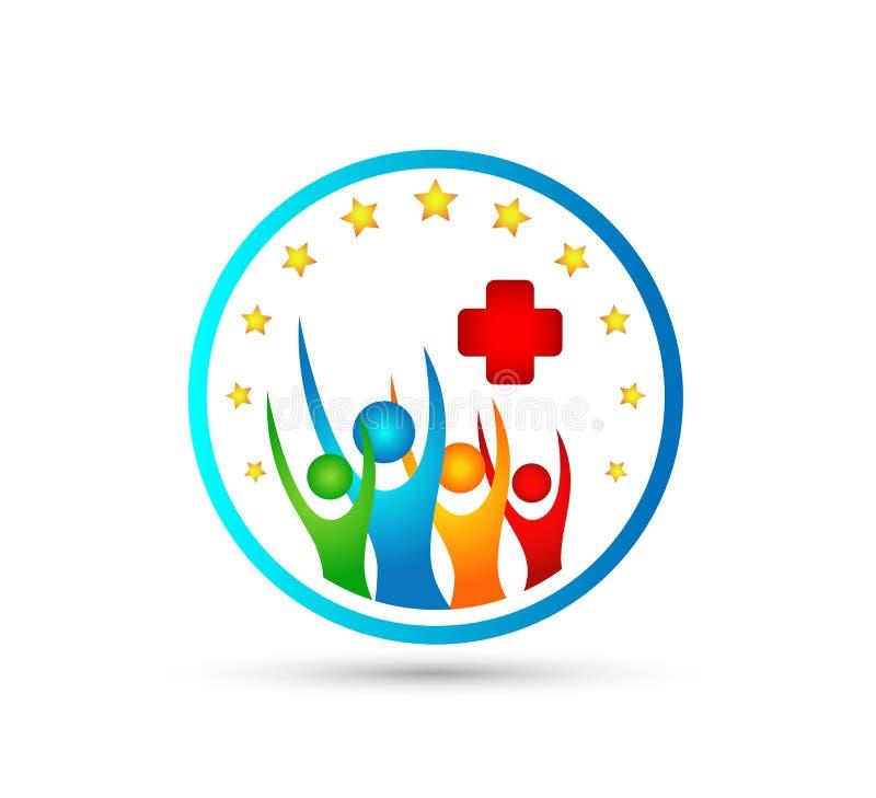Povos felizes, família, junto projeto do logotipo do vetor do feriado do ícone dos cuidados médicos do logotipo do novo conceito ilustração stock