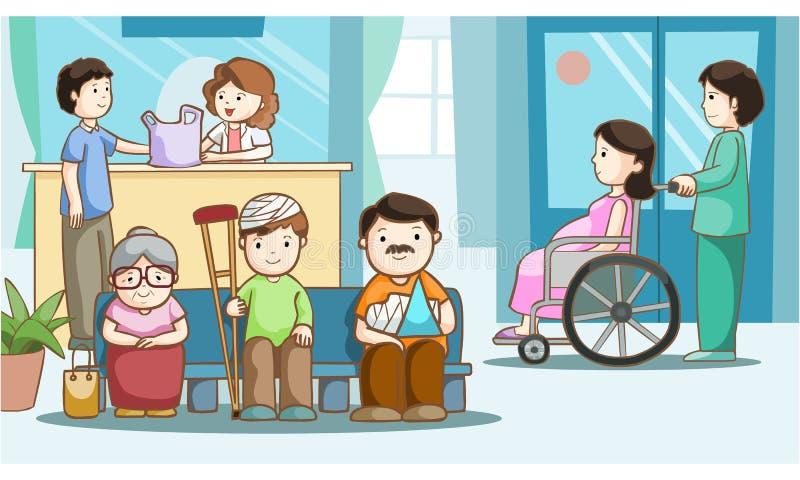 Povos felizes na ilustração do hospital ilustração do vetor