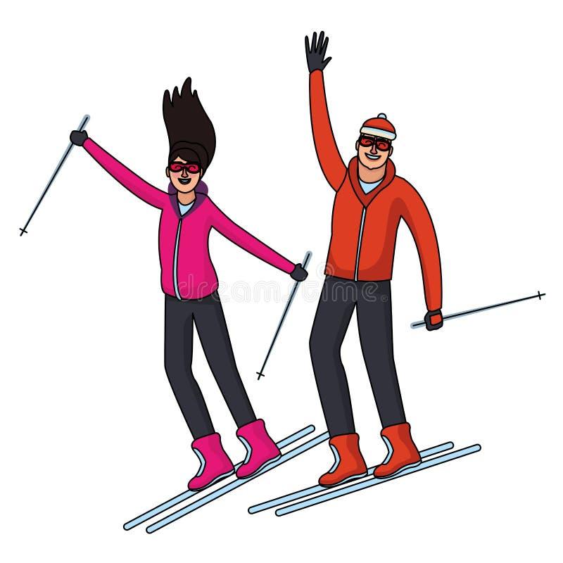 Povos felizes no inverno ilustração stock
