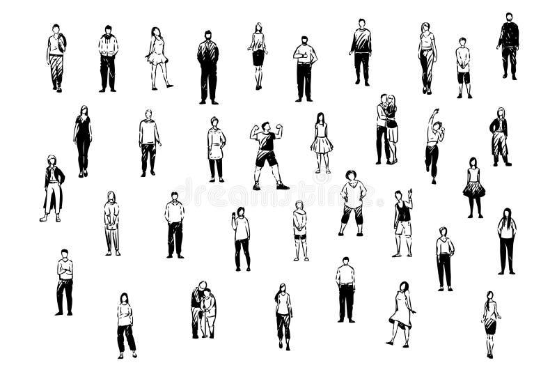 Povos felizes, pares novos e velhos, estudantes da escola, adultos na roupa ocasional e formal, amigos e grupo da família ilustração stock