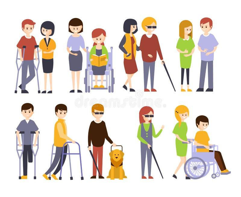 Povos fisicamente deficientes que recebem a ajuda e o apoio de seus amigos e família, apreciando a vida completa com ilustração do vetor