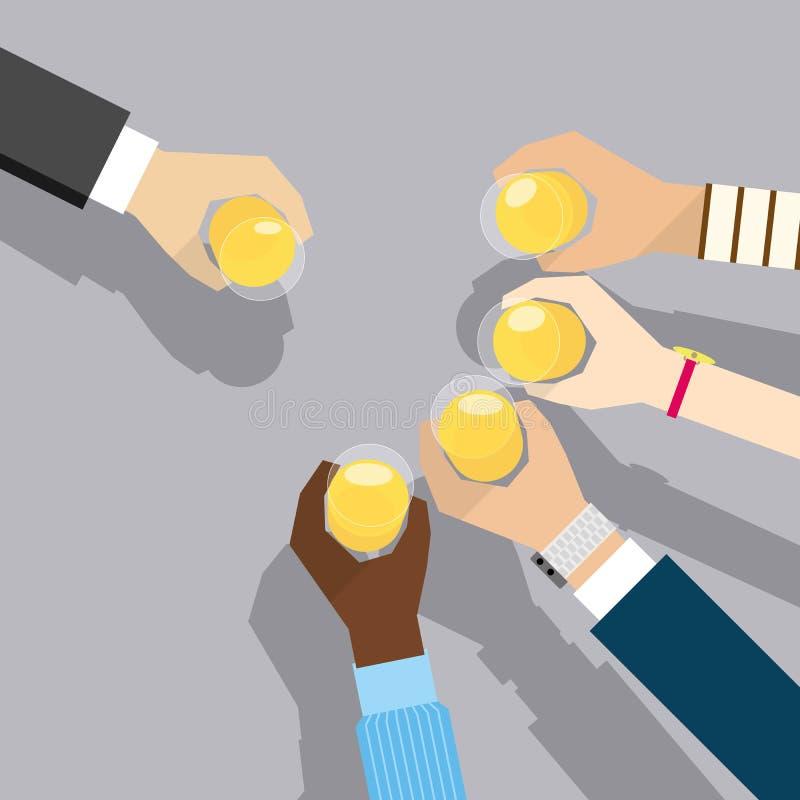 Povos globais que bebem para o sucesso ilustração stock