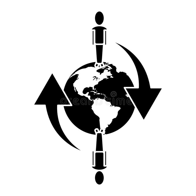 Povos globais rede de comunicação conectada em torno do pictograma ilustração stock