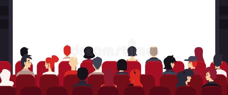 Povos grandes da audiência do vetor na fase vazia das cadeiras ilustração do vetor