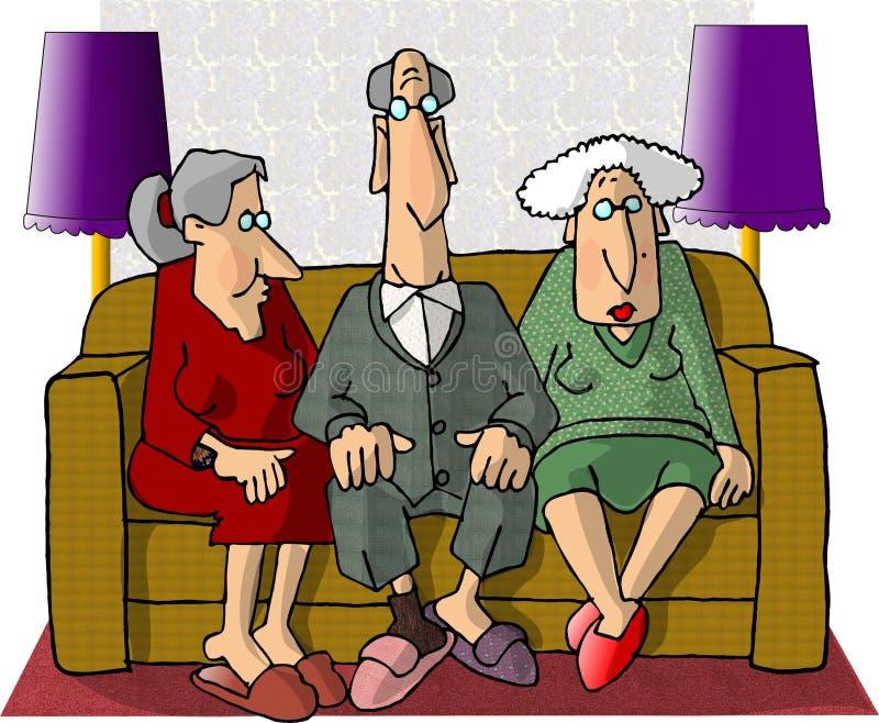 Povos idosos ilustração do vetor