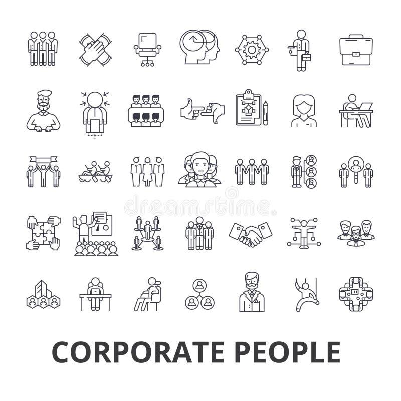 Povos incorporados, identidade corporativa, negócio, trem, evento incorporado, linha ícones do escritório Cursos editáveis Projet ilustração royalty free