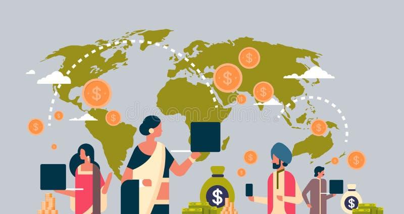 Povos indianos que usam o fundo global do mapa do mundo do conceito da transação do dinheiro de aplicação do pagamento horizontal ilustração stock
