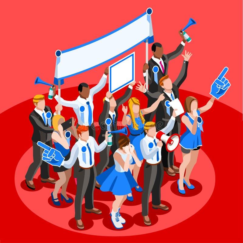 Povos isométricos Cheering do vetor da multidão de Infographic da eleição ilustração stock