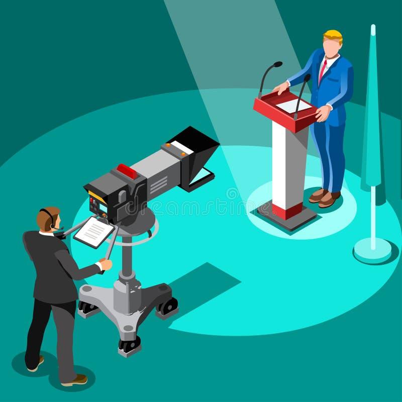 Povos isométricos do primeiro vetor de Infographic da notícia da eleição ilustração do vetor