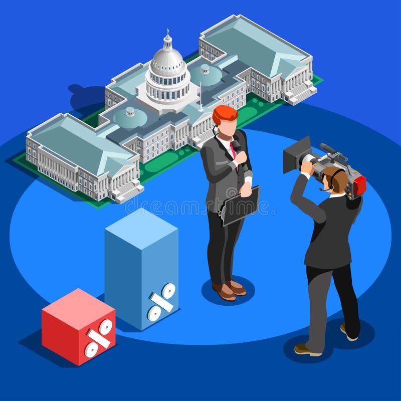 Povos isométricos do vetor da abóbada do Capitólio de Infographic da notícia da eleição ilustração do vetor