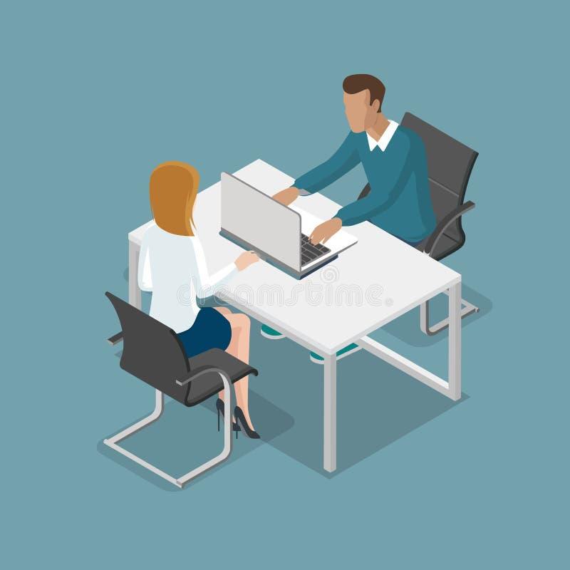 Povos isométricos lisos no negócio do escritório 3d ilustração royalty free