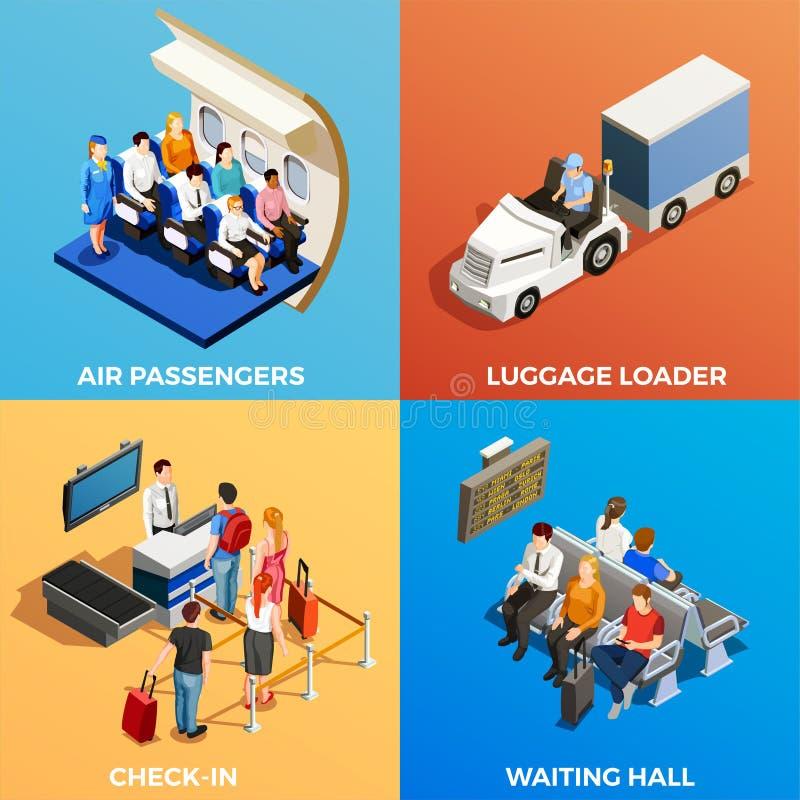 Povos isométricos no aeroporto ilustração royalty free