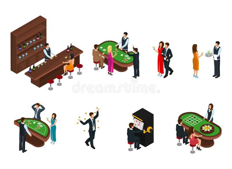 Povos isométricos no grupo do casino ilustração stock