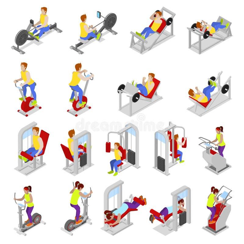 Povos isométricos no Gym Exercício dos desportistas Equipamento de esportes Exercícios da aptidão ilustração stock