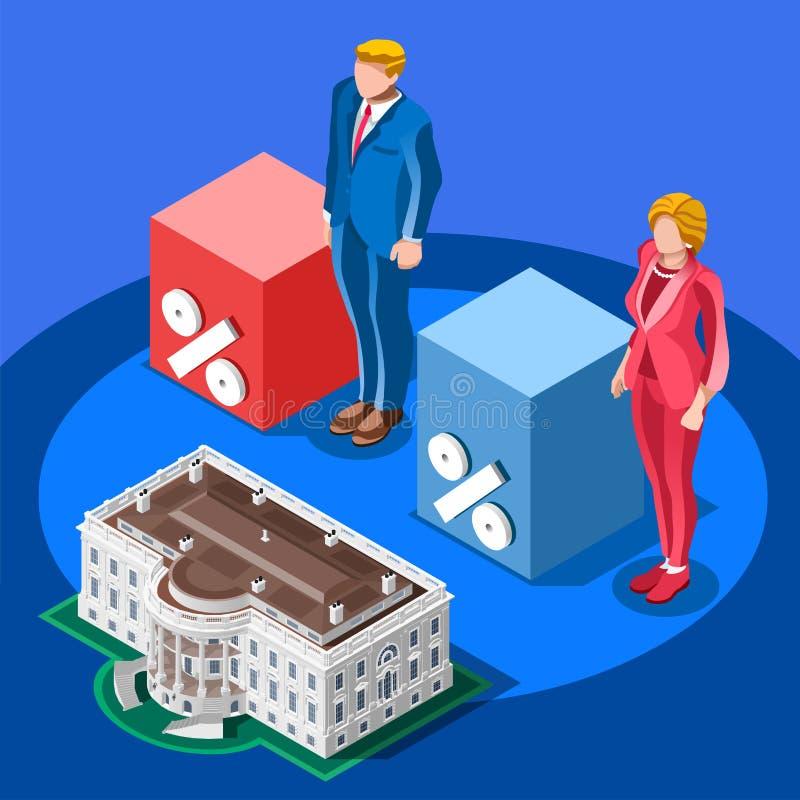 Povos isométricos presidenciais do vetor de contagem de Infographic da eleição ilustração royalty free