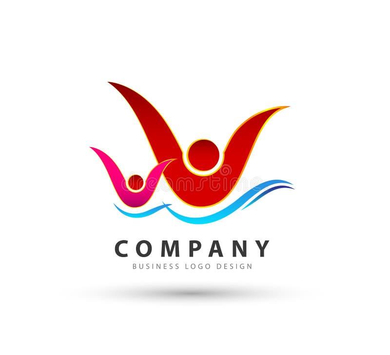 Povos junto com o ícone na moda novo do ícone da onda de água, logotipo ilustração royalty free