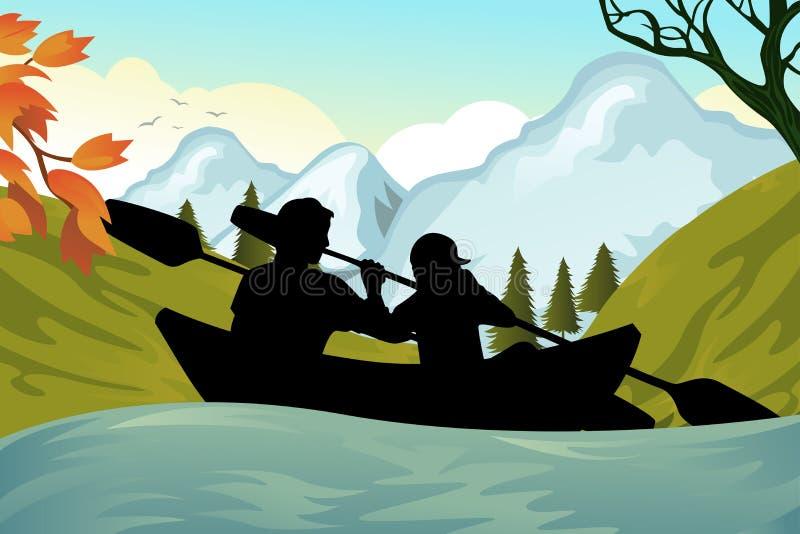 Povos Kayaking ilustração royalty free