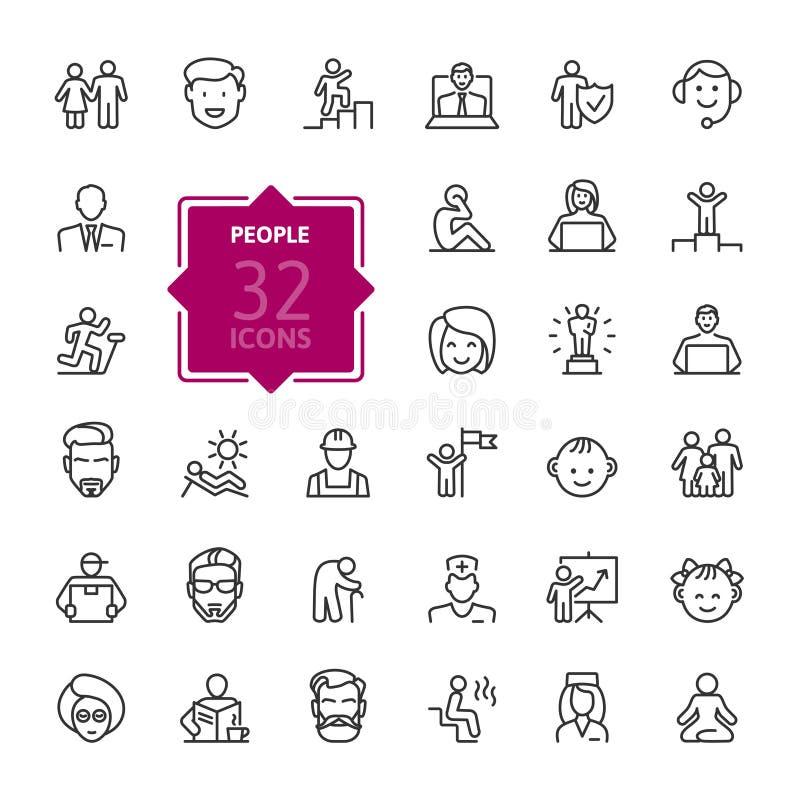 Povos - linha fina mínima grupo do ícone da Web Coleção dos ícones do esboço ilustração stock
