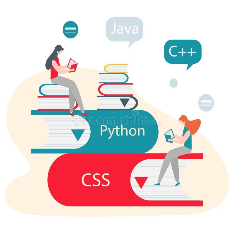 Povos, livros Aprendendo linguagens de programação ilustração do vetor