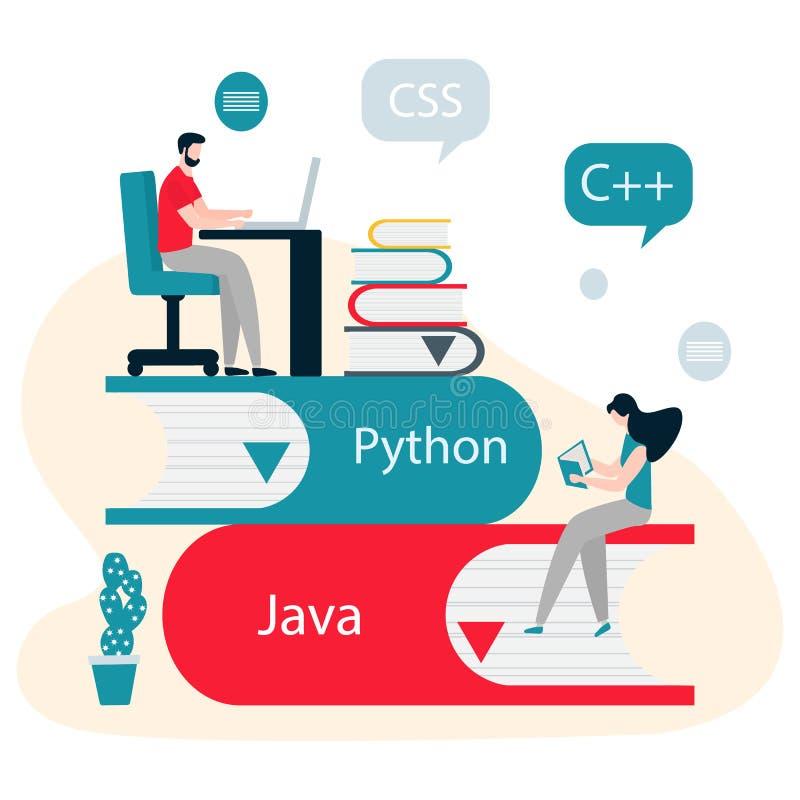 Povos, livros Aprendendo linguagens de programação ilustração stock