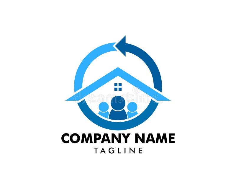 Povos Logo Template Vetora Design da casa da seta do círculo ilustração do vetor