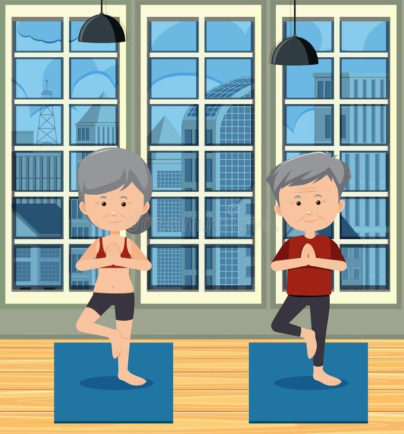 Povos mais idosos saudáveis que fazem a ioga ilustração stock