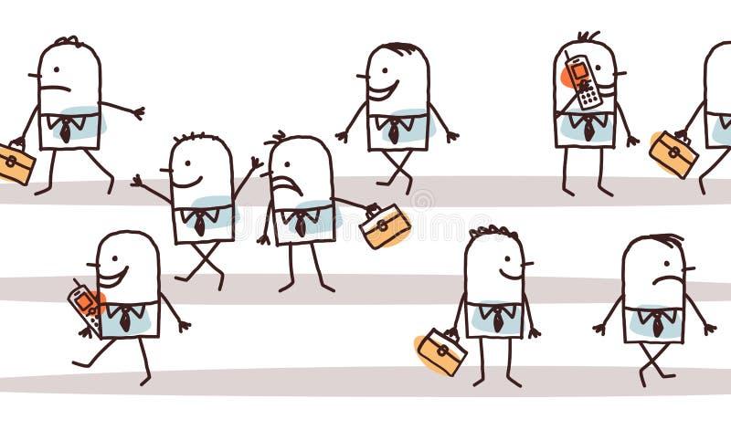 Povos masculinos dos desenhos animados que andam na rua ilustração stock