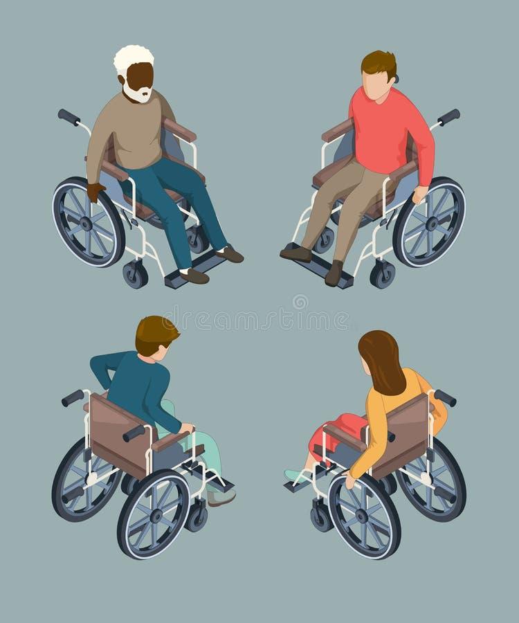 Povos masculinos e fêmeas deficientes que ajustam-se nas cadeiras de rodas Ilustrações isométricas isoladas do vetor ilustração do vetor