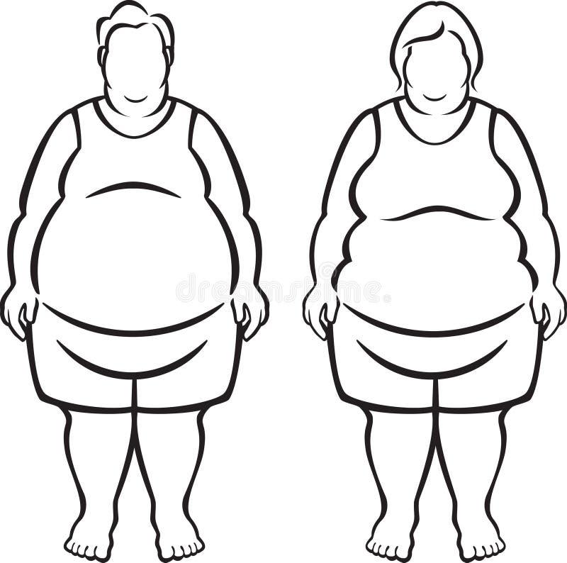 Povos Morbidly obesos ilustração royalty free